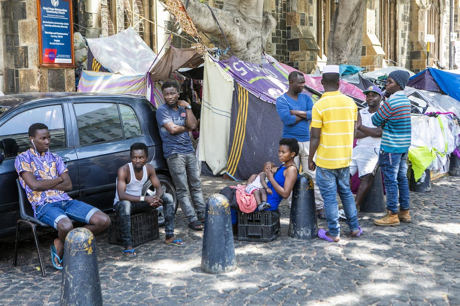 Refugees at the Central Methodist Church in Cape Town, South Africa.